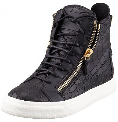 GIUSEPPE ZANOTTI GOLD LONDON CROCEMBOSSED SNEAKERS BLACK