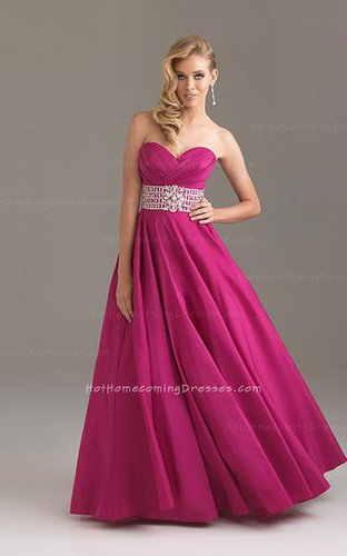 Fuchsia Strapless Open Back Ballgown for Long Prom Dresses