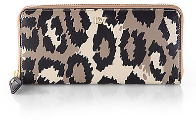 Diane von Furstenberg Leopard Print Zip-Around Wallet