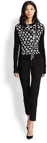 Diane von Furstenberg Harper Leather-Trim Sweater Jacket