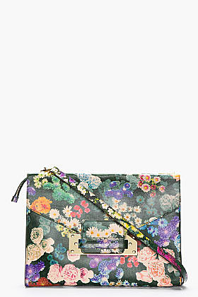 SOPHIE HULME Green Multicolor Leather Floral Envelope Clutch