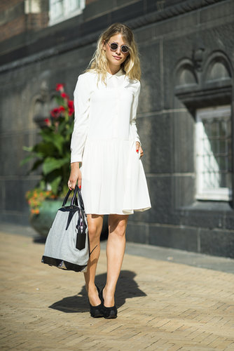 A sweet ladylike moment, made sweeter with retro shades and classic pumps. Source: Le 21ème | Adam Katz Sinding