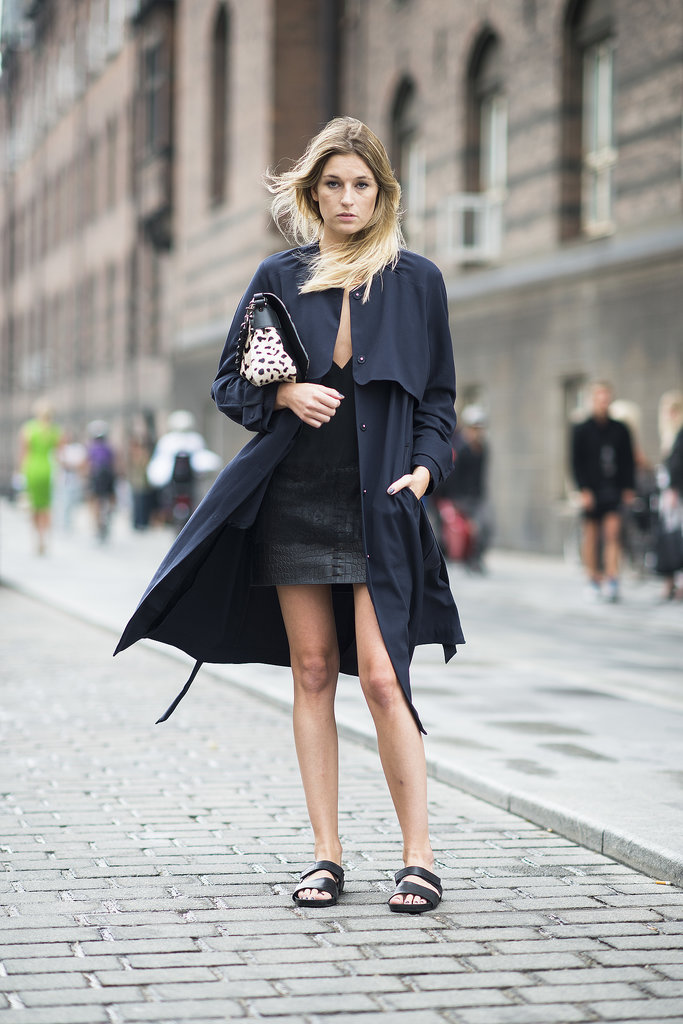 Flat sandals lend a casual counterpart to sophisticated outerwear. Source: Le 21ème | Adam Katz Sinding