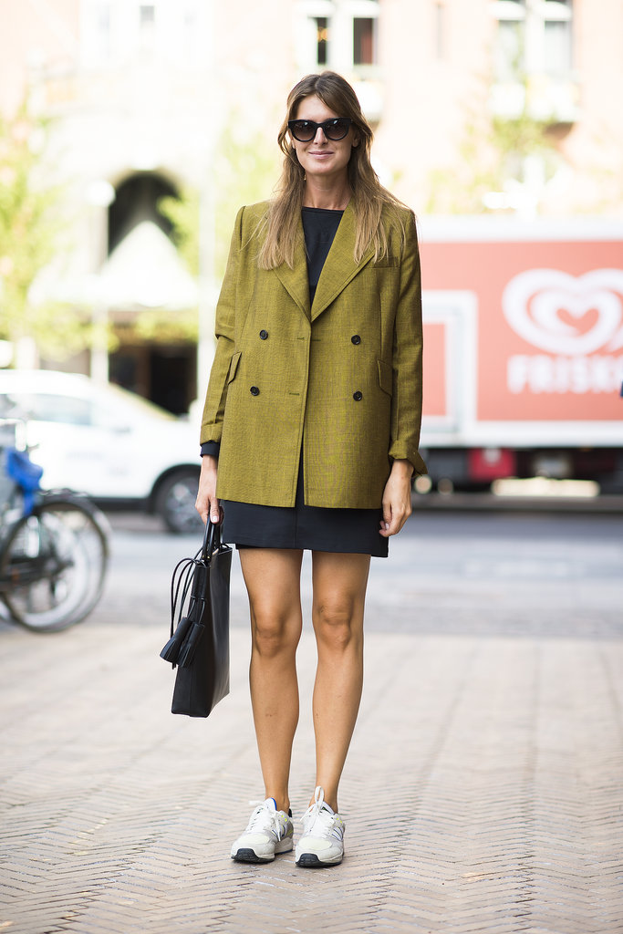 Business up top, power-walker on the bottom — and totally chic.  Source: Le 21ème | Adam Katz Sinding