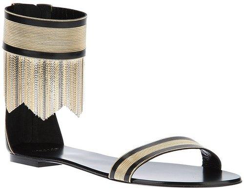Versace metallic chain flat sandal