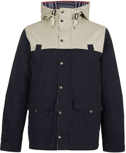 NAVY COLOUR BLOCK MOUNTAIN PARKA coat