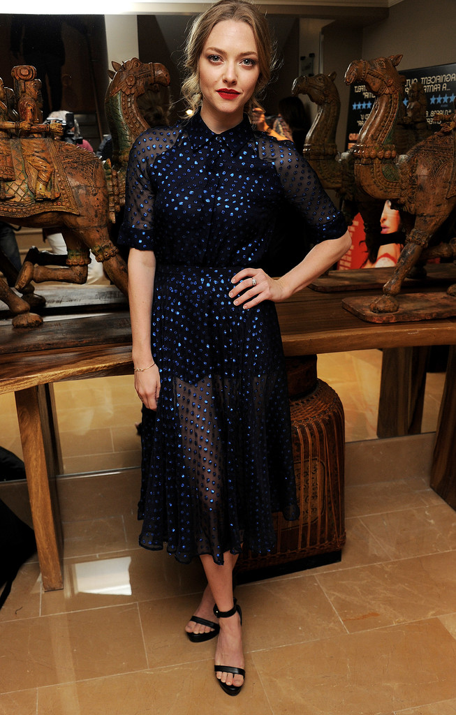 Amanda Seyfried wore a sheer Gucci dress for the London screening of Lovelace.