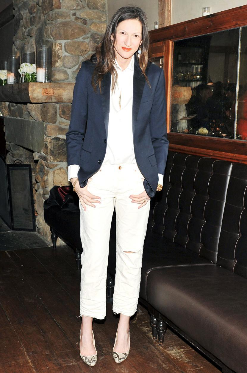 Not surprisingly, Lyons has mastered the art of dressing up J.Crew. We love this preppy blazer with boyfriend jeans and pumps.
