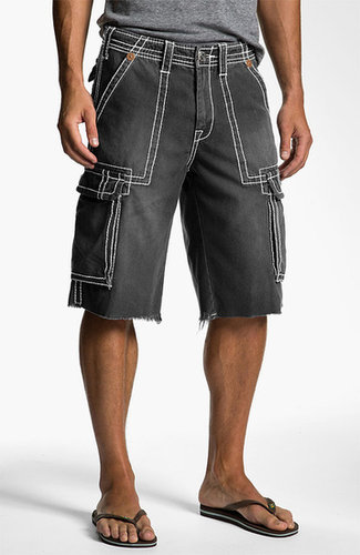 True Religion Brand Jeans 'Isaac' Cargo Shorts Faded Black 36