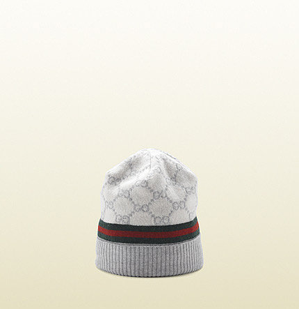 GG pattern hat with web detail.