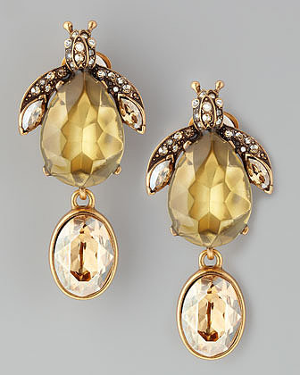 Oscar de la Renta Crystal Bug Clip Earrings, Champagne