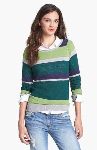 Halogen Novelty Sweater (Regular & Petite) Red Cordovan/ Purple Stripe Medium P