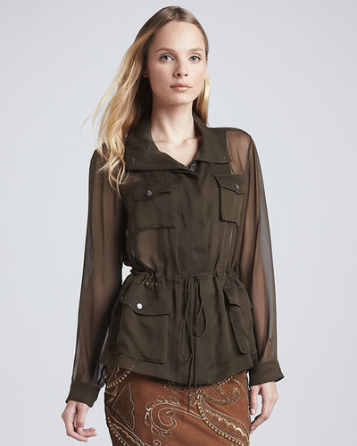 Haute Hippie Silk Chiffon Anorak, Dark Military