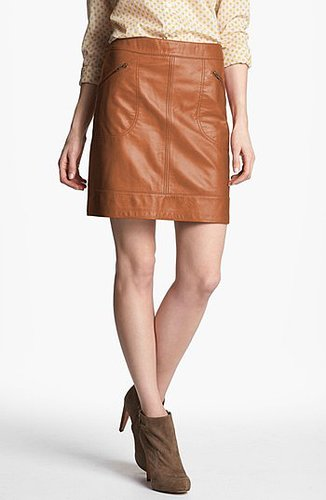 Halogen Zip Pocket Leather Skirt (Regular & Petite) Luggage 16P