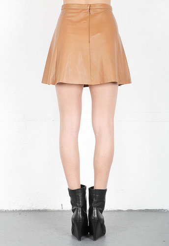 LOVE LEATHER High Waisted A Line Mini Skirt in Caramel