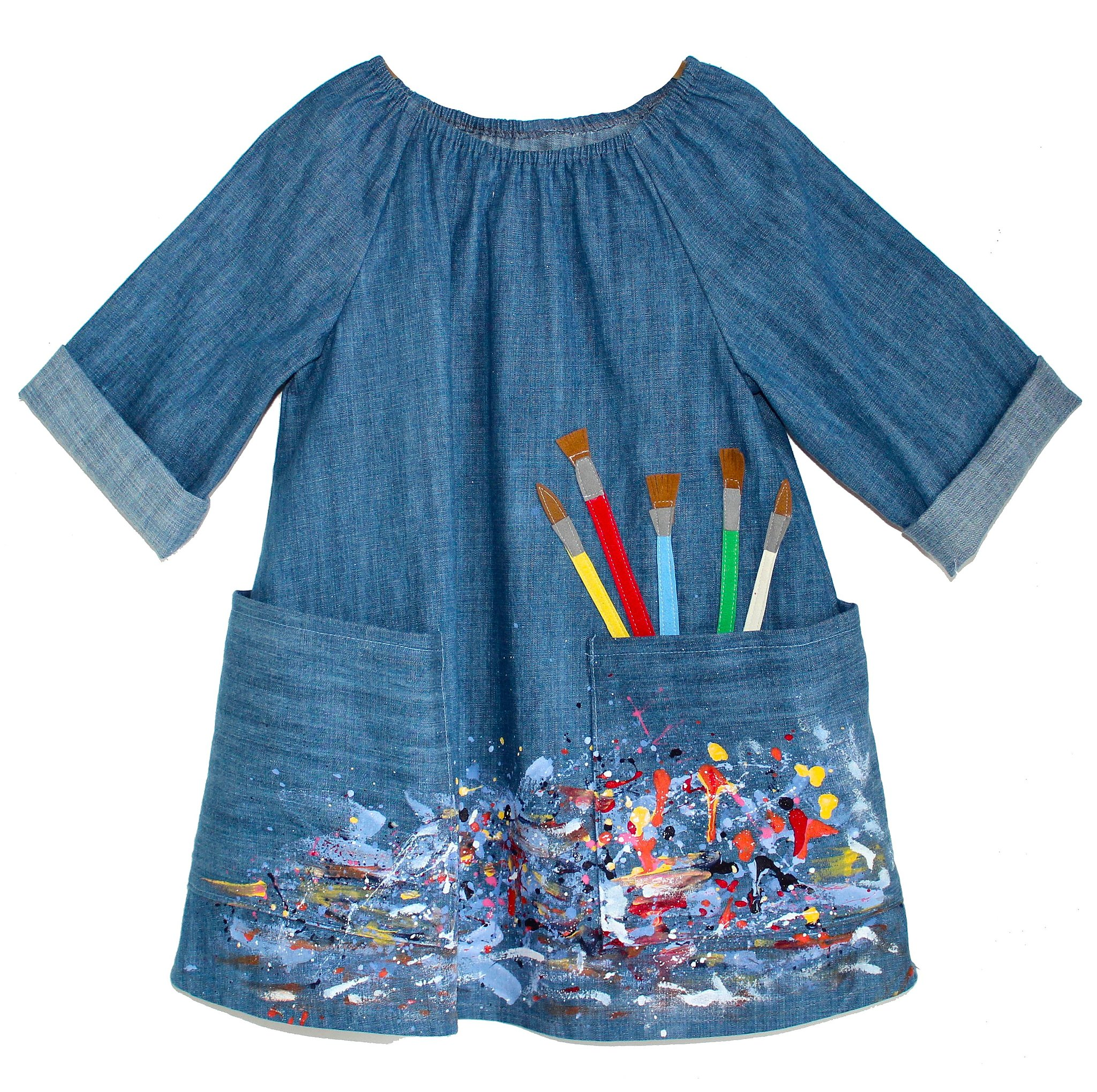 Fall Smocked Dresses For Girls Denim Artist Smock Dress