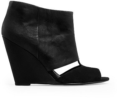 Peep-Toe Wedge Ankle Boot