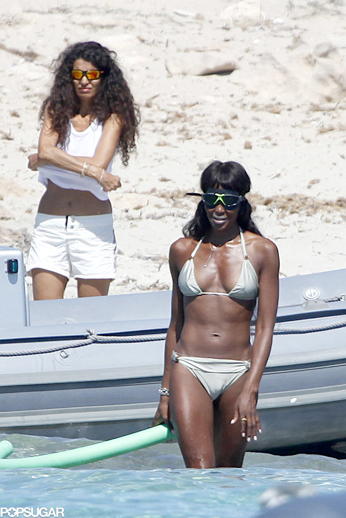 Naomi Campbell wore a gold bikini in August during an ocean outing in Ibiza.
