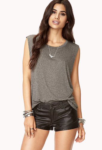 FOREVER 21 Faux Leather-Trimmed Denim Shorts