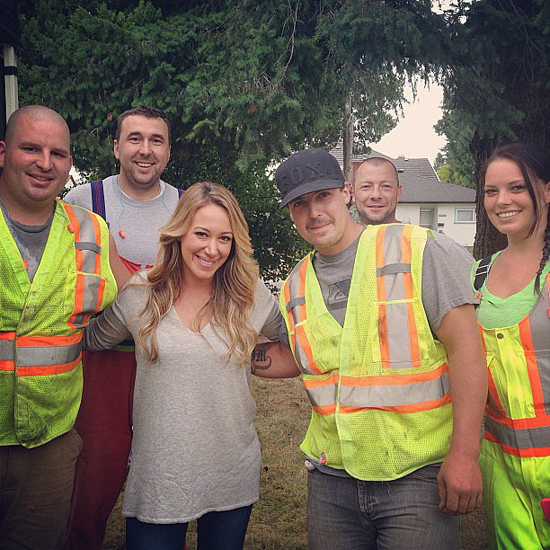 "Haylie Duff posed with some of the ""great people of Vancouver"" during a recent shoot in Canada. Source: Instagram user haylieduff"