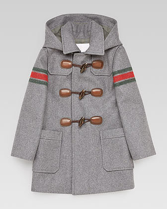 Gucci Montgomery Striped-Sleeve Toggle Coat