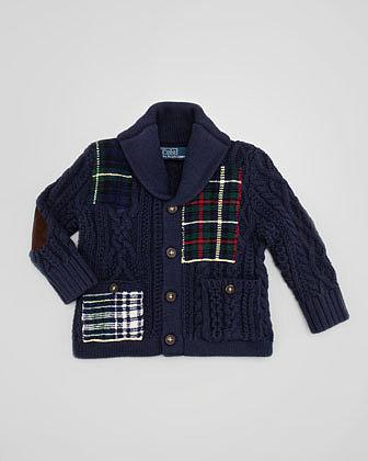 Ralph Lauren Shawl-Collar Patchwork Cardigan, 9-24 Months