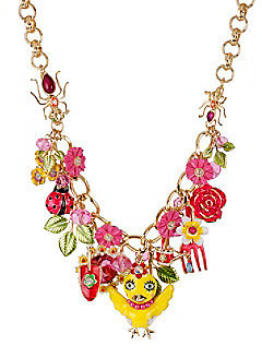 Betsey Johnson® Yellow Chickadee & Flower Frontal Necklace