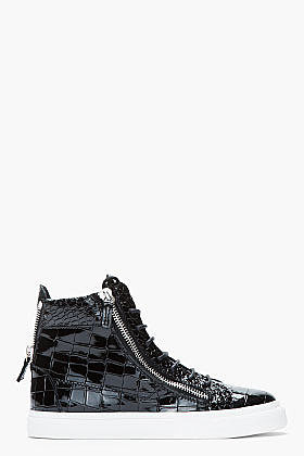 GIUSEPPE ZANOTTI Black patent leather Croc-embossed London sneakers