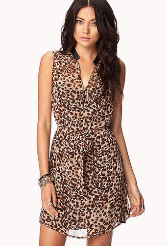 FOREVER 21 Leopard Print Chiffon Dress