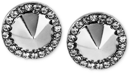 Steve Madden Earrings, Hematite-Tone Pave Spike Stud Earrings