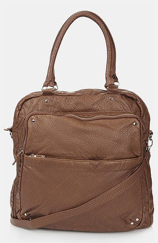 Topshop Washed Faux Leather Satchel Tan