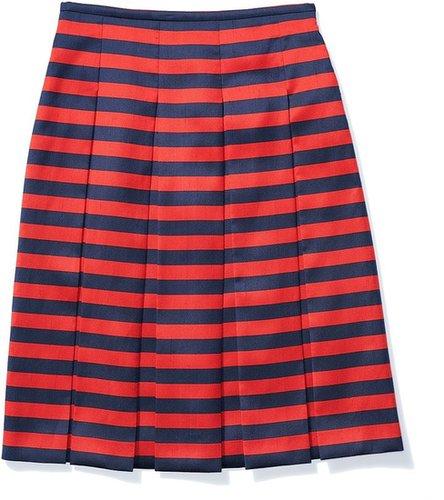 Cabana Stripe Print Shantung Long Box Pleat Skirt