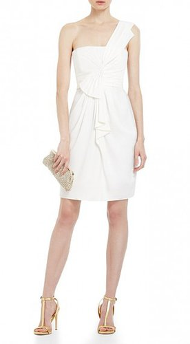 BCBG PALAIS ONE-SHOULDER COCKTAIL DRESS WHITE