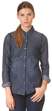 VILA Womens Sirly Denim Shirt dark blue denim