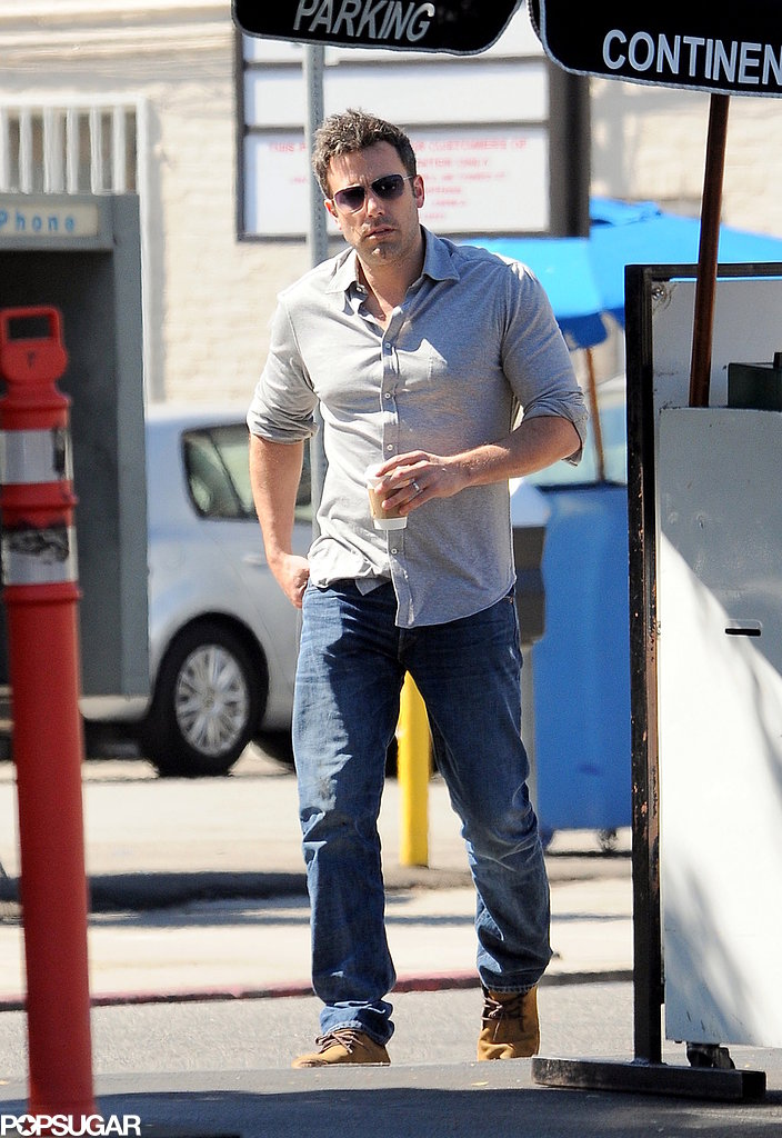 Ben Affleck left a restaurant in LA.