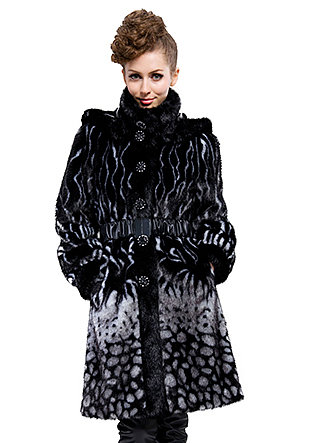 good quality black faux fur with faux beaver fur collar|long coat|free shipping