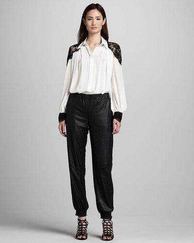 Alice + Olivia Leather Sweatpants