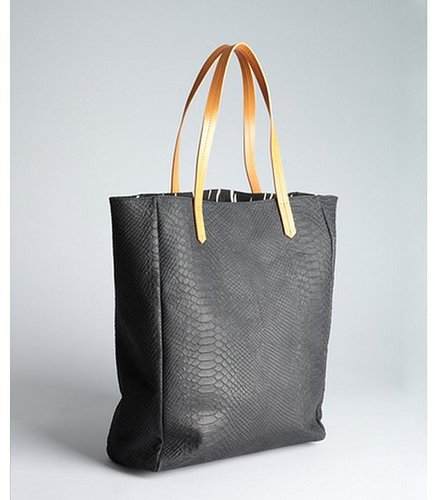 Kelsi Dagger black snake embossed leather shopper tote