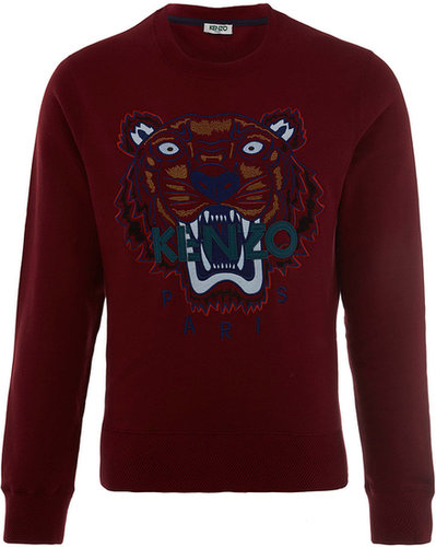 Kenzo Burgundy Tiger Motif Sweatshirt