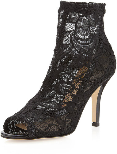 VC Signature Patricia Lace Ankle Peep-Toe Pump, Black