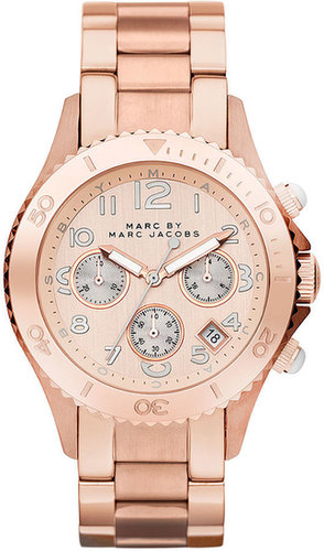 Marc by Marc Jacobs Watch, Women's Chronograph Rose Gold Ion Plated Stainless Steel Bracelet 40mm MBM3156