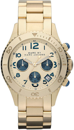 Marc by Marc Jacobs Watch, Women's Chronograph Gold Ion Plated Stainless Steel Bracelet 40mm MBM3158