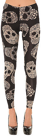 See You Monday The Delicate Skull Print Leggings in Black