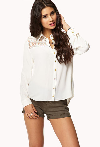 FOREVER 21 Embroidered Lace Paneled Shirt