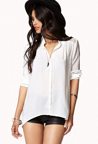 FOREVER 21 Lace Inset High-Low Shirt