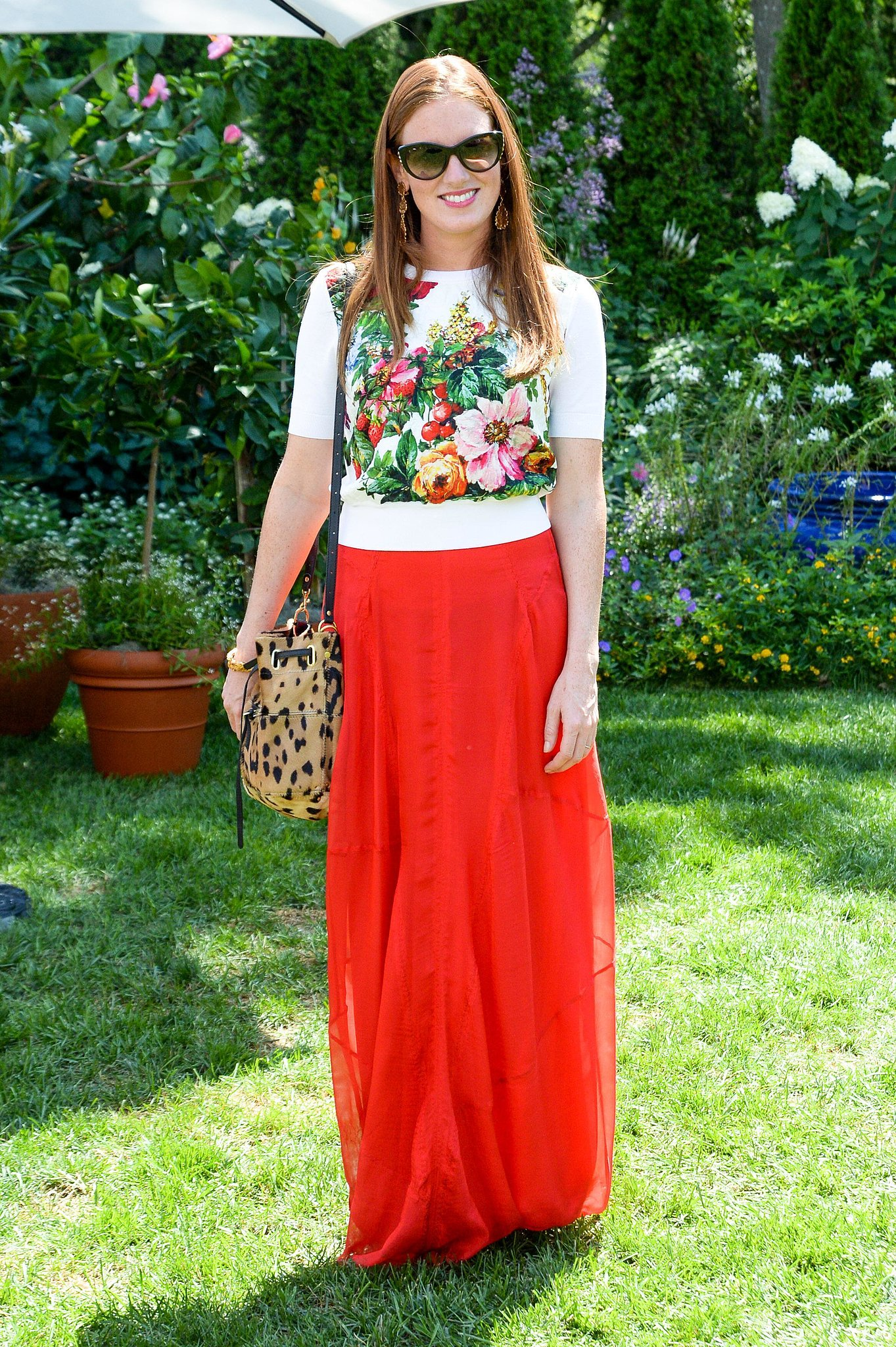 Bettina Prentice was garden-party-ready in a floral topper and bright maxi skirt at Dolce & Gabbana's Southampton luncheon.