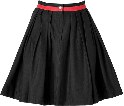Preen Line Stretch Cotton Primrose Pleat Skirt in Black