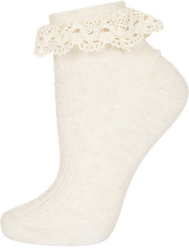 Cream Crochet Lace Trim Socks