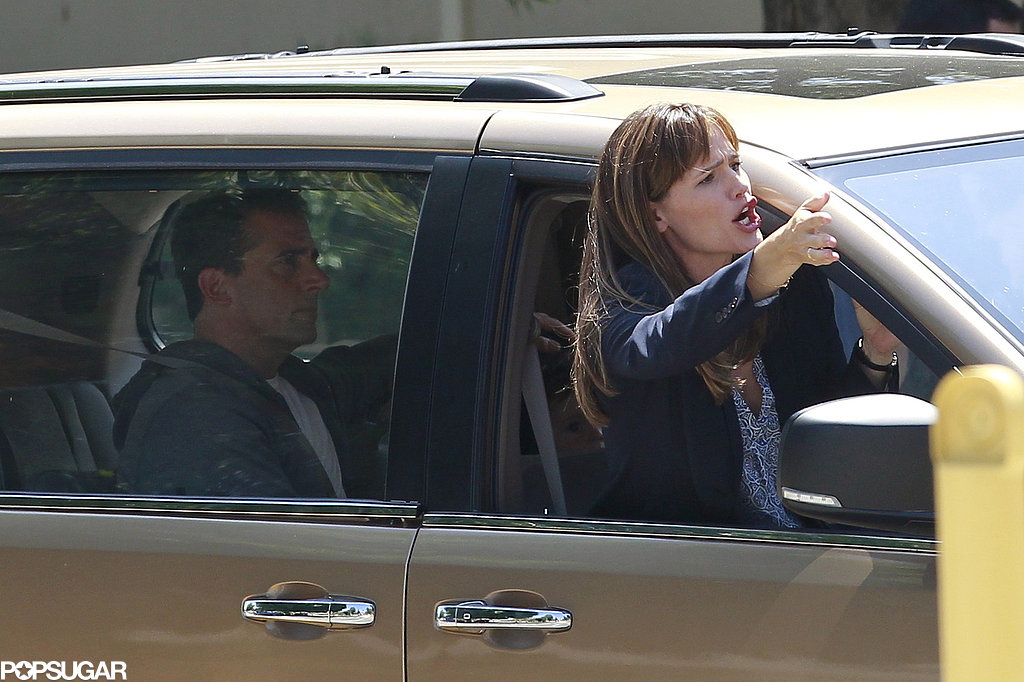 Jennifer Garner got animated while filming a car scene with Steve Carell.