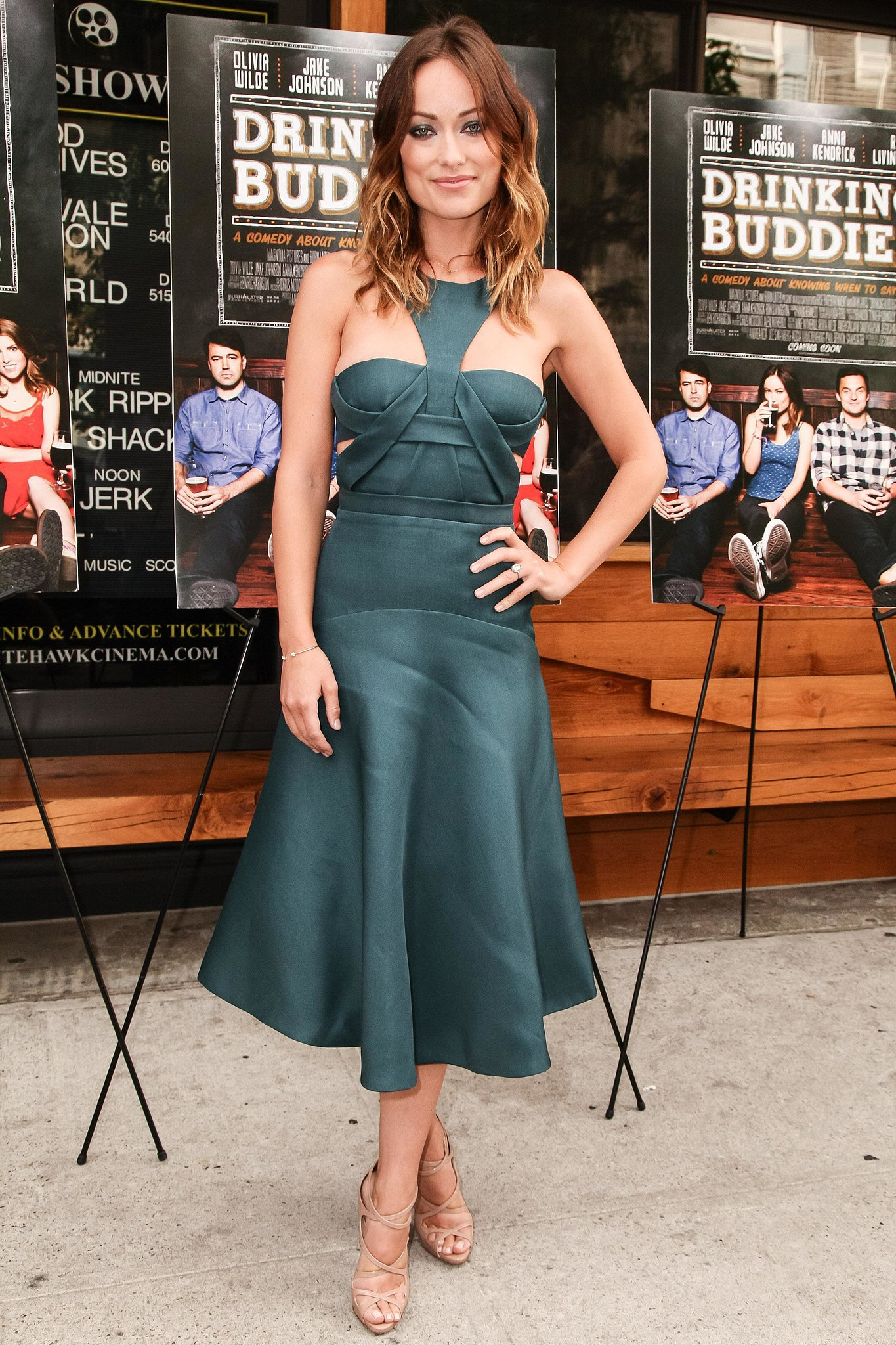 Olivia Wilde screened Drinking Buddies in a modern J. Mendel dress in Brooklyn.